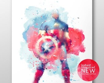 Heart and FREE Captain America, Poster,  Art The Avengers, Print Watercolor,Printable, Instant Download, Printable Art, 8x10, 11x14, 16x20