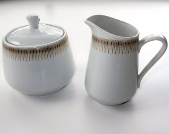 Lyngby porcelain - Trend 1220 - sugar bowl and creamer from the 1960s