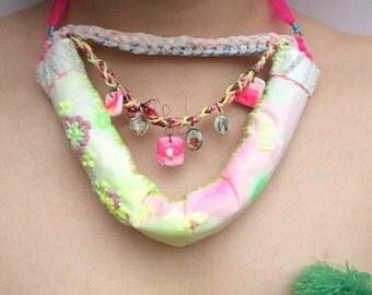 Pastel fancy necklace, unique fluorescent necklace , luminous individual , distinctive