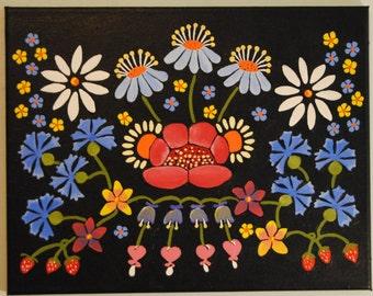 "Original Estonian ""Muhu"" flower painting"