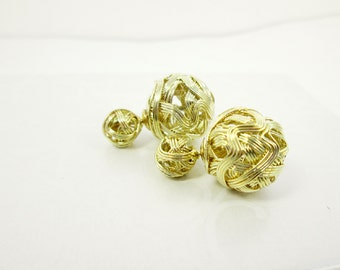 Gold Knot Double Earrings 14K Gold Plated Front Back Post Earrings Double Sided Gold Ball Studs Wire Ball Earrings Bridal Shower Gift