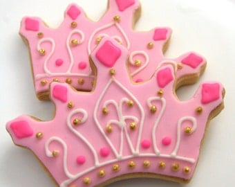 "1 Dozen Decoartive 4.5"" Shortbread Princess Crown Cookies"