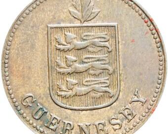 Guernsey 1929 H 2 Doubles Coin