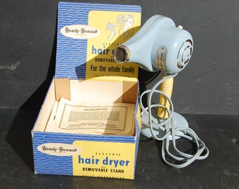 Retro Handy Hannah hair dryer complete with stand and box, 110V. Good condition. Pale baby blue plastic and metal. Never used condition.