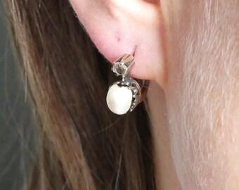 Russian 14 K Pearl and Rose Diamonds Earrings