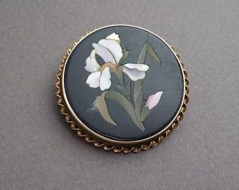 Pietra Dura iris pin Gold frame brooch