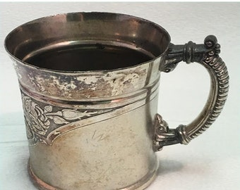Weekend Super Sale! James Tufts Quadruple Silverplate Mug Cup with Initials M.K.