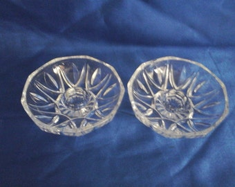 A Pair Clear Glass Dish Candle Holders