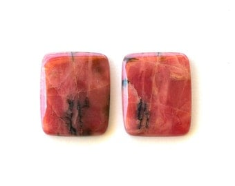 Set of 2 Rhodonite natural stone cabochons  23 x 19 x 4 mm