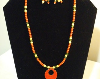 Orange donut necklace and earring set