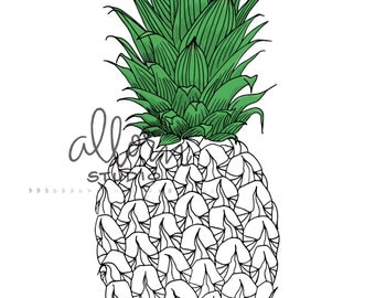 Pineapple Coloring Page--Printable, instant download, fruit theme, Hawaiian art, adult coloring book