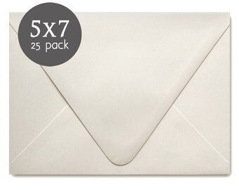 "Ivory Wedding Envelopes - 25 Pack - Ivory Envelopes - A7 - 5x7 , actual size 5 1/4"" x 7 1/4"" - Ivory or Off White"
