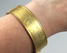 Coro Engraved Gold Bangle - Vintage 50s, Hand Engraved Leaves, Wide Hinged Bangle Bracelet, Aesthetic Japonism Style