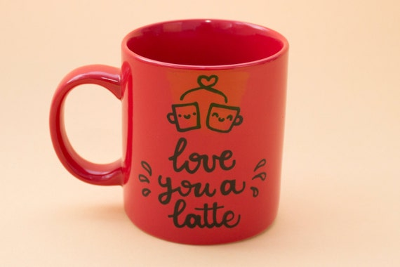 love you a latte - Ceramic red mug