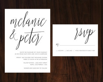 Calligraphy Wedding Invitation, Minimalist Wedding Invitation, Handwritten Wedding Invite