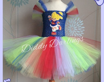 Rainbow Brite Tutu Dress Inspired Handmade Tutu Dress All Sizes Fully Customised Rainbow Brite Applique Christmas Party Costume Rainbow Tutu