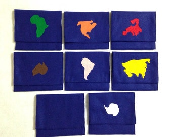 Geography felt pouches- montessori color coded continents- felt continents