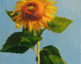 EXAMPLE ONLY. 6x6 Sunflower, Oil Painting, Original Handmade Art