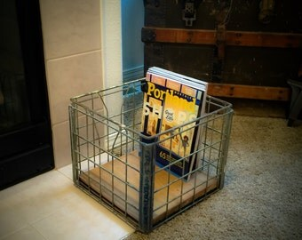 Industrial Metal Crate with Reclaimed Shiplap    Storage Crate    Dairy Crate with Reclaimed wood bottom    Magazine storage crate
