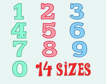 Numbers Applique Machine  Embroidery Design, 14 Sizes, Birthday Applique, DIGITAL INSTANT DOWNLOAD 031