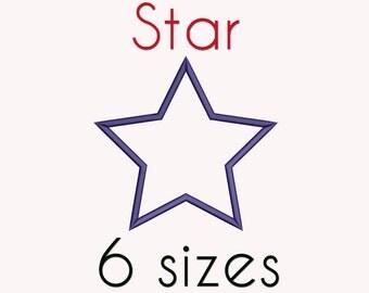Star Applique Machine  Embroidery Design, 6 Sizes, Basic Shape DIGITAL INSTANT DOWNLOAD 052