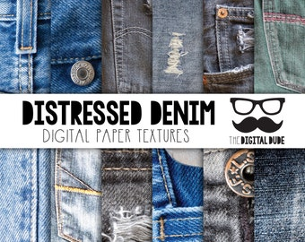 Premium Digital Paper Set, Distressed Denim Digital Paper, Scrapbook Paper, Distressed Denim Texture, Digital Denim. Instant Download