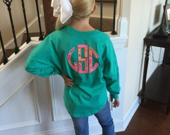 Youth Double Monogrammed Pom Pom Jersey with Large inspired Lilly Pulitzer Applique fabric