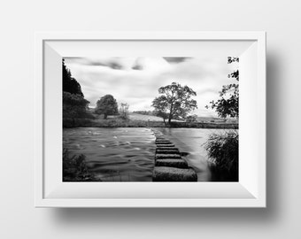 Stepping Stones / Whitewell / Forest of Bowland / Landscape / River / Water / Trees / Nature / Path / Journey / Wall Art