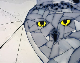 Snowy Owl Stained Glass Mosaic