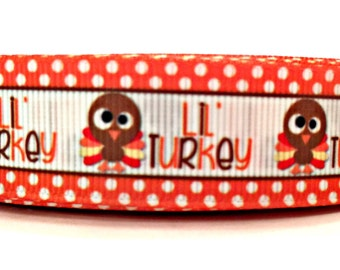 Turkey Ribbon, Thanksgiving Ribbon, Orange Turkey Ribbon, Fall Turkey ribbon, Thanksgiving Grosgrain, Turkey Grosgrain,Holiday Turkey Ribbon
