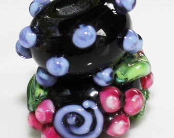 Black Floral Lampwork Glass Rondelle Beads