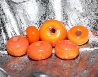Set of (6) #3 Halloween Mix Opaque Orange with Yellow Lampwork Glass Rondell Beads. Halloween, Seasonal