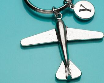 Airplane Keychain, Airplane Key Ring, Large Plane, Initial Keychain, Personalized Keychain, Custom Keychain, Charm Keychain, 766