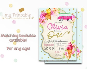 Summer Birthday Invitation / Digital Printable Party Invite for Kids / DIY