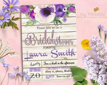 Purple Bridal Shower Invitation / Digital Printable Watercolor Invite / DIY Floral Party