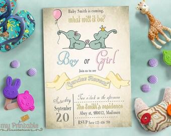 Elephant Gender Reveal Invitation / Digital Printable Baby Shower Invite / DIY Party