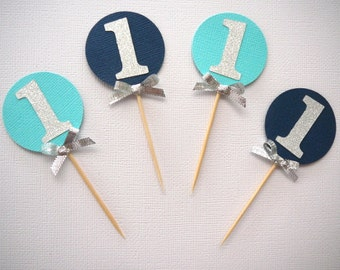 Set of 12 navy blue, turquoise and silver glitter cupcake toppers- personalised- custom- first birthday- baby shower- age- 1st birthday