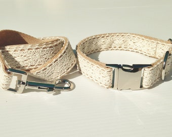 Beautiful Vintage Inspired Lace Dog Collar and Leash Set Made in Australia