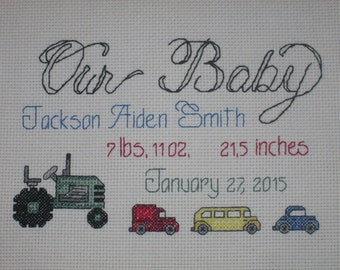 Our Baby Personalized Birth Announcement with Cars Pattern