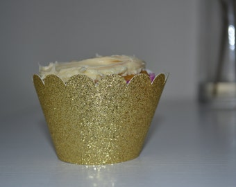 Gold Cupcake Wrapper / Muffin Wrapper / Gold Party
