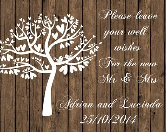 Personalised wedding sign wishing well A4 size rustic wood grain background wall art - digital delivery