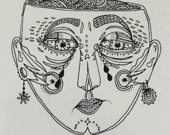 ONE OF A KIND Pretty patterned sad face
