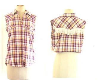 90s Maroon + Mustard Check Button Up With Fringing Detail Western Seventies