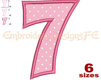 Number 7 Applique - 6 Sizes - Machine Embroidery Design File