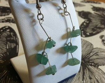 Green Beaded Dangly Earrings