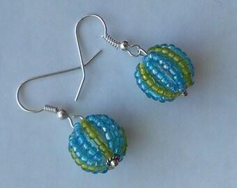 Sky Blue and Olive-Green Glass Seed Bead Ball Charm Earrings, White Metal Hooks