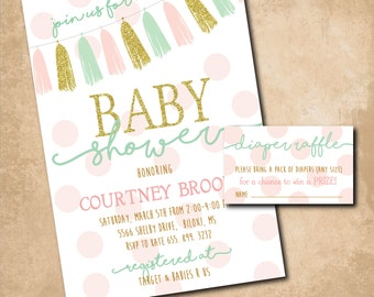 Baby Shower Invitation with Diaper Raffle ticket/ DIGITAL FILES / wording can be changed
