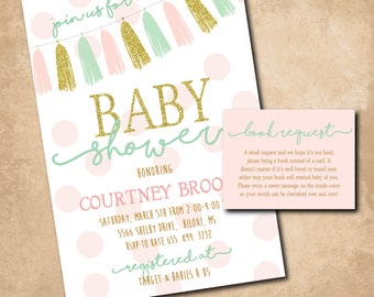 Adorable Baby Shower Invitation with matching Book Request/DIGITAL FILES/printable/wording can be changed