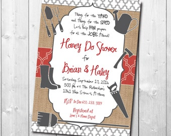 Honey Do Shower Invitation printable/Tool Shower Invitation, gadget, lawn, tool party, groom, handyman/Digital File/wording can be changed