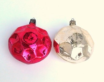 Set of 2 Vintage Soviet Glass Christmas tree decoration / Christmas tree ornaments / Made in USSR, 1950s